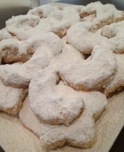 Walnut Shortbreads with Icing Sugar