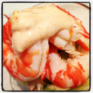 prawns with avovado and home made chilli mayo