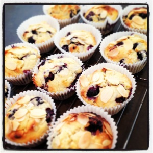 White chocolate, almond and blueberry muffins...told you I had loads of berries!