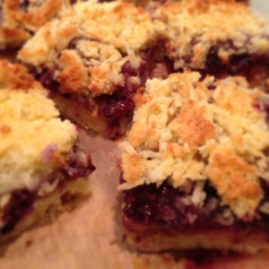 Bought loads of berries so made this blackberry and coconut slice