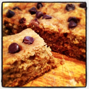 Banana bread with butterscotch and chocolate chips