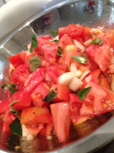Salty and tangy tomato and onion salad.