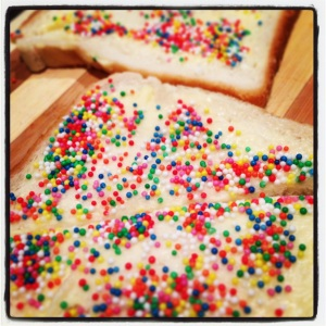 The men ate all the fairy bread - I love men who love fairy bread!