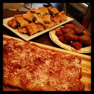 spanakopita, biscuits and 'bougatsa' - semolina custard phyllo.