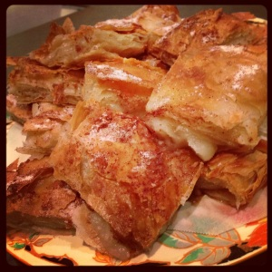 The 'bougatsa' all cut up and ready to eat - I did not get a slice - all gone within minutes!