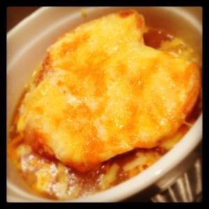 French onion Soup - because my parents bought a 5 kilo bag of onions!