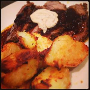 Roast Potatoes, Beef with red wine and a spicy mustard - too good!