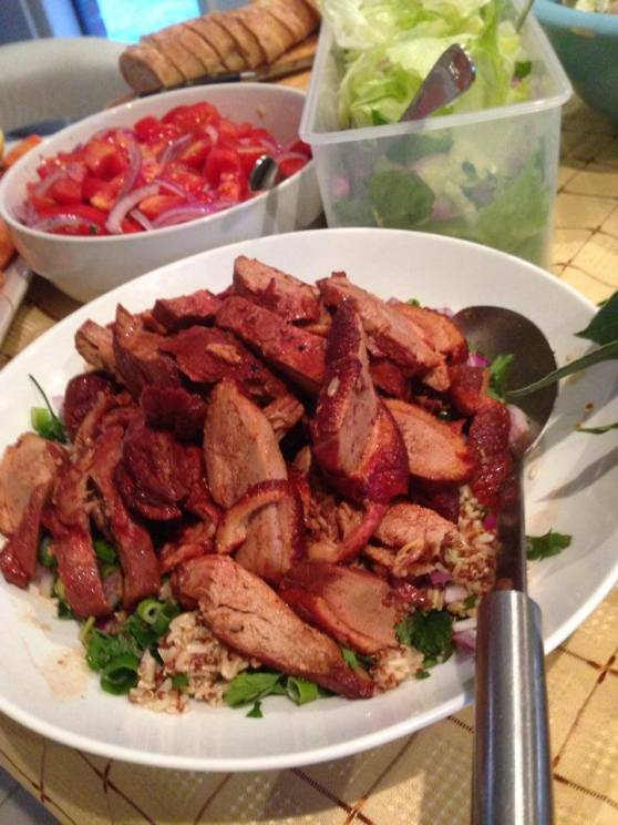 Duck with spicy plum sauce with rice and quinoa - soooo good!