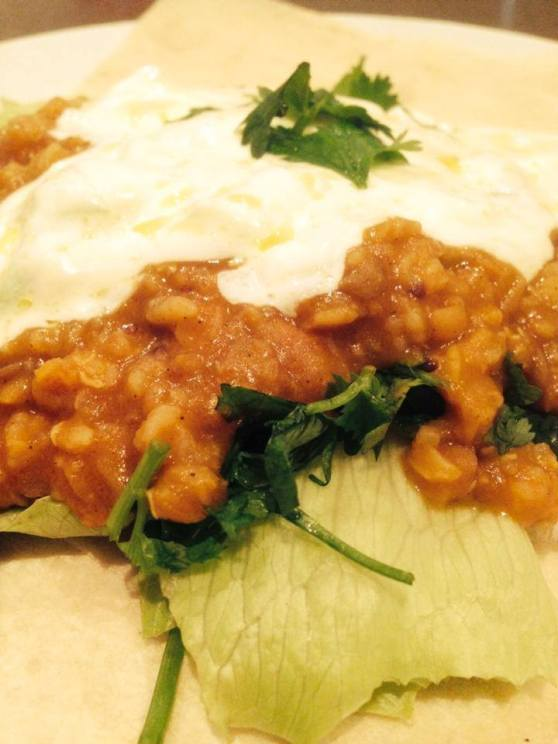 When I'm home alone it's spicy lentils with lime and coriander and yoghurt - I simply adore this dish.